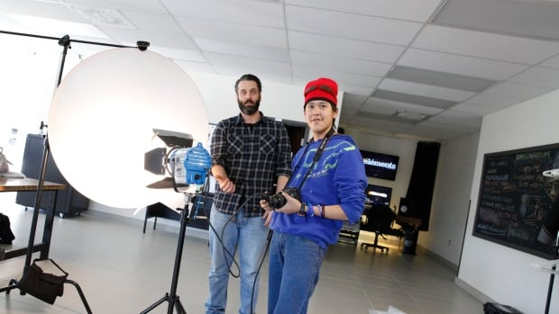 Sam Pauppa of Arviat is in Quebec City this week learning new techniques for filmmaking. 'It's fun work,' the 21-year-old said in Inuktitut.
