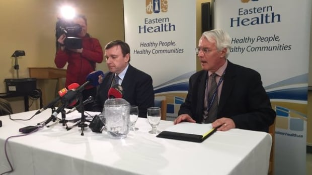 Eastern Health briefs reporters at a news conference Tuesday afternoon.