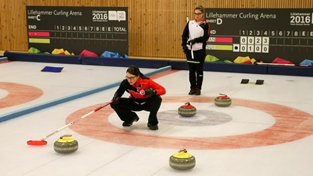 Canadian skip Mary Fay, bottom, outdueled Switzerland counterpart Selina Witschonke, back, on Tuesday, helping lead the mixed curling team to the gold-medal match.