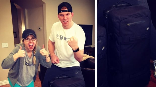 Andy Dalton and his wife celebrate the return of their luggage after losing it, only to later lose them again.