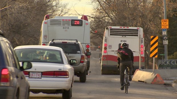 The city says it's trying to accommodate bicycle users on the busy route between Northland Drive and Cambrian Drive-10th Street N.W.