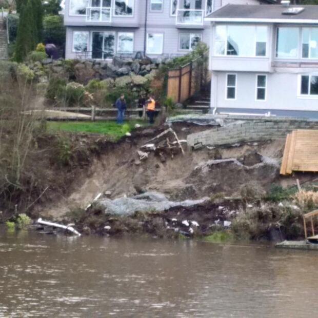 Esquimalt house falling into Gorge