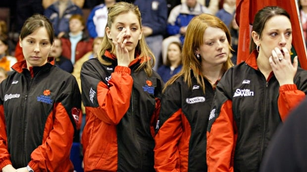 Skip Jenn Hanna, left, and the rest of her  Ontario rink show their shock after losing on the final shot of the 2005 Scotties Tournament of Hearts to Manitoba and Jennifer Jones. Hanna has her Ottawa rink back at the 2016 Scotties for the first time in 11 years.