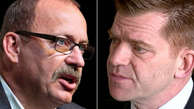 A self-described super PAC is pushing for interim PC leader Ric McIver, left, and Wildrose Party Leader Brian Jean to join together.