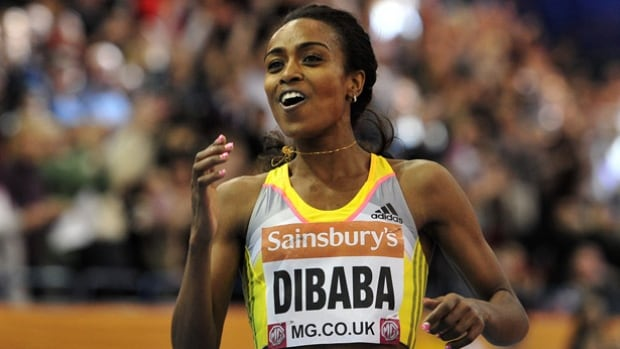 Ethiopia's Genzebe Dibaba, shown in a 2014 race, set a new world indoor record in the mile in Stockholm Wednesday, the third successive year that's she's lowered a world standard at that meet.
