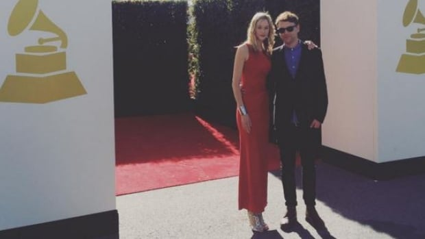 Stephen Kozmeniuk with his date at Monday's Grammy Award ceremony in L.A.