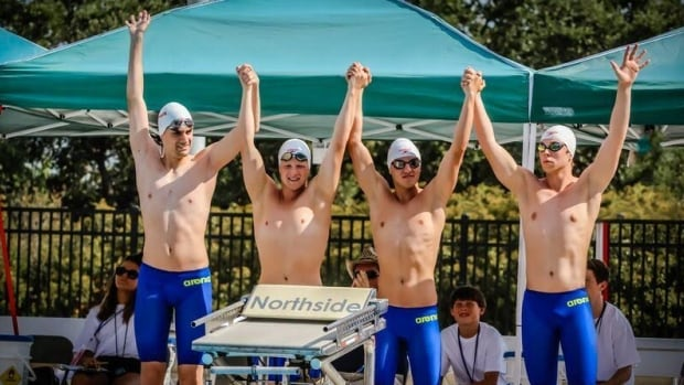 Brandon Van Wyk (20, Brantford ON); Joshua Baerg (19, Delta BC); Damiano Panetta (18, Vaughn, ON); and Thomas Osborn (18, Winnipeg MB); make up the Canadian Deaf National Swimming Team