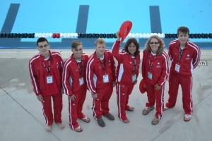 Coach Judy Baker with Deaf Swim Team