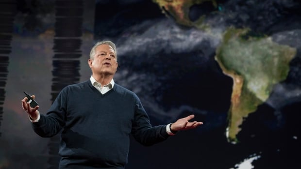 Al Gore speaks on the TED Conference stage in Vancouver on Wednesday, saying that change can happen faster than we think. When solar power becomes cheaper than fossil fuels, 'a lot of things change.'