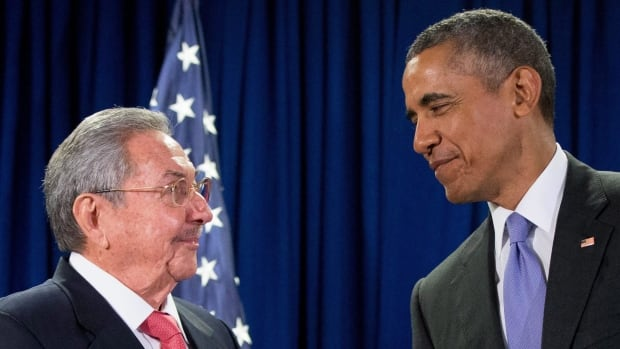 President Barack Obama stands with Cuban President Raul Castro before a bilateral meeting at the United Nations headquarters in this Sept. 29, 2015 photo. The White House announced Thursday that Obama will meet Castro in Havana in mid-March.