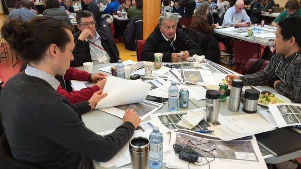 People gathered in Dettah, N.W.T., this week to talk about the future of the Giant Mine site. Members of the Yellowknives Dene do not want future land use.