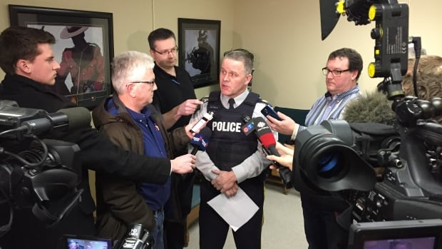 RCMP Staff Sgt. Greg Nichol speaks during a news conference about the charges in Yorkton, Sask.