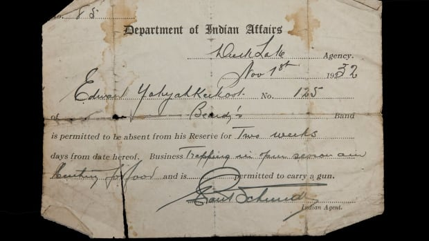 A two week pass for Edward Yahyahkeekoot from the Saskatchewan Archives Board. This is one of the few remaining passes found in a Canadian archive, and is proof of the pass system, implemented in 1885. The policy controlled the movement of First Nation people off reserves.