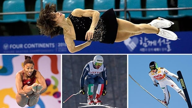 Clockwise: Figure skater Meagan Duhamel, diver Jennifer Abel, skier Peter Fill and ski jumper Peter Prevc will be featured on this weekend's Road to the Olympic Games.