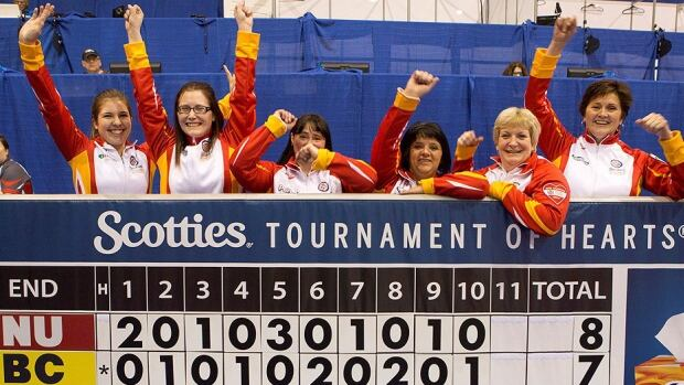 Members of the Nunavut team celebrate their victory in their debut at the Canadian women's curling championship in Grande Prairie, Alta., on Thursday. Geneva Chislett's team from Iqaluit downed B.C.'s Karla Thompson 8-7 in the first draw of the pre-tournament qualifier.