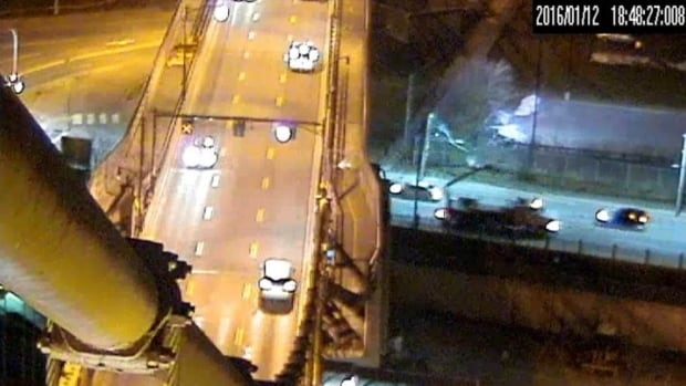 Halifax police released this still of the incident. The truck's to the right of the bridge.