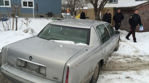 Police took this car from the back lane of a home on Treger Bay in Winnipeg's East Kildonan, and confirmed the house is related to the Cooper Nemeth investigation.