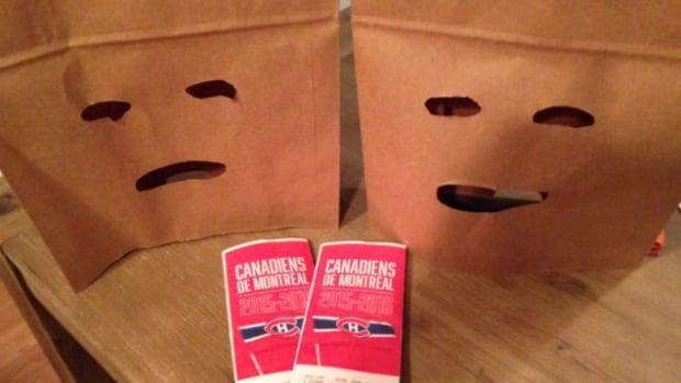 'This is my way of grieving,' said Habs fan Philippe Meilleur, who is selling his 2 tickets to an upcoming game, along with 'brown paper bags of shame.'