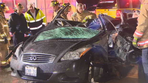 Emergency crews on the scene after a car crashed into a hydro pole in Thornhill, Ont. on Feb. 20, 2016.