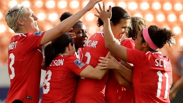 The Canadian women's soccer team, seen here after defeating Trinidad and Tobago, will host two matches in Toronto and Ottawa against Olympic host nation Brazil during June of this year.