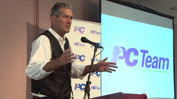 Manitoba Progressive Conservative Leader Brian Pallister speaks to delegates at a candidate training event in Winnipeg on Saturday.
