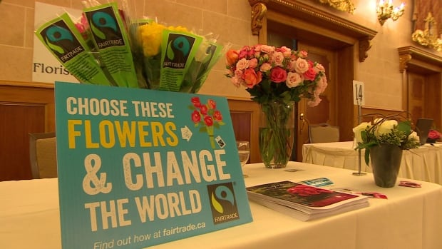 Fair trade flowers were among the various products on display at the fourth National Fair Trade Conference in Winnipeg on Saturday.