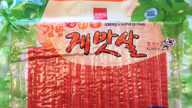 This 1 kg bag of Wang Korea Imitation Crab Sticks has been recalled by the CFIA due to undeclared egg.