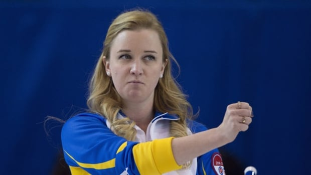 Team Alberta skip Chelsea Carey reacts to a shot during the first draw against Team Canada at the Scotties Tournament of Hearts, in Grande Prairie, Alta., on Saturday, Feb. 20, 2016.
