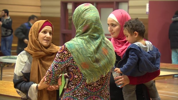 About 350 Syrian refugees attended this welcome party for them at the Grand Mosque in Winnipeg on Saturday.  They were joined by about 100 members of the Syrian and Muslim communities who already live in the city, organizers said.