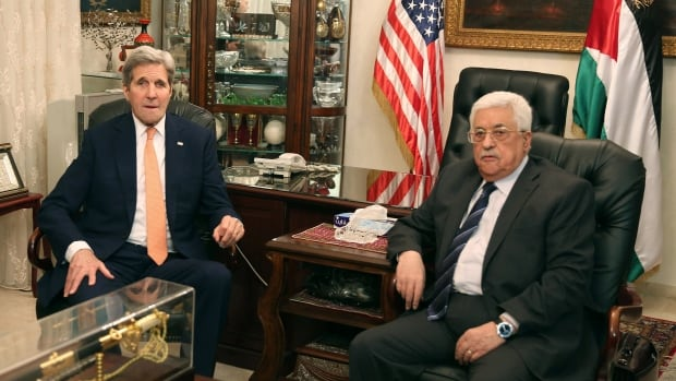 Palestinian President Mahmoud Abbas, right, meets with U.S. Secretary of State John Kerry on Sunday in Amman, Jordan. Kerry arrived in Amman  Saturday on a visit during which he will meet Jordan's King Abdullah II to discuss the latest developments in the Middle East.