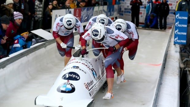 Latvia's four-man bobsled piloted by Oskars Melbardis started in 19th position and was still back in seventh after Saturday's two heats, but came back Sunday to claim gold.