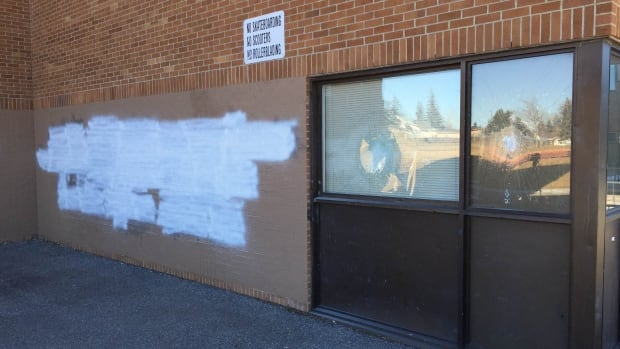 Wilma Hansen Junior High was tagged with anti-Syrian and anti-Trudeau graffiti for a second time on Saturday.
