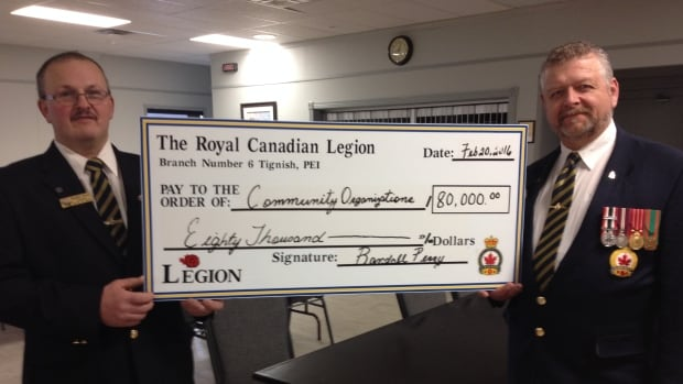 Randall Perry and Floyd Gaudet of the Royal Canadian Legion in Tignish hold a cheque showing the $80,000 shared with 19 community organizations.