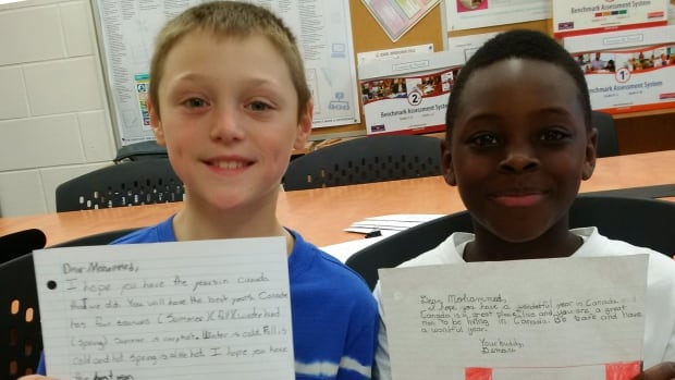 Tyler and Demari are some of the students who wrote to Mohammed as part of their class's 'Make a Difference' unit.