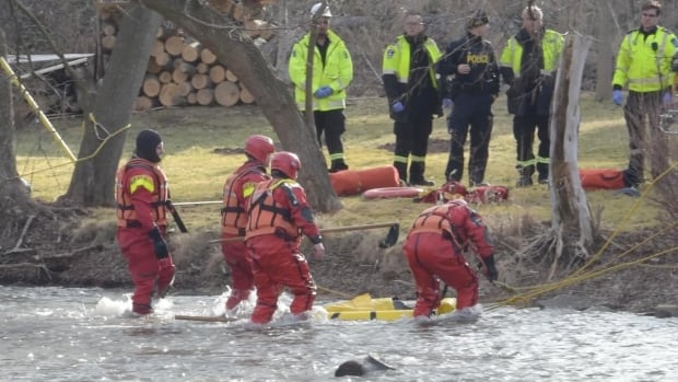 Rescue workers found two empty kayaks in the Credit River on Sunday.