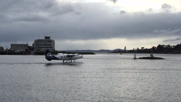 A float plane prepares for takeoff in Victoria's harbour.