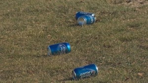 Beer cans on golf course