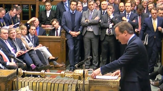 Britain's Prime Minister David Cameron addresses members of Parliament in the House of Commons in London, Feb. 22, 2016, to lay out his case for staying in the European Union. Uncertainty over Britain's future in the European Union sent the pound plunging Monday, as Cameron tried to shore up support for remaining in the bloc when the U.K. holds a referendum in June.