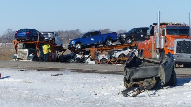 The scene of a fatal crash on Highway 16 near Langham, Sask.