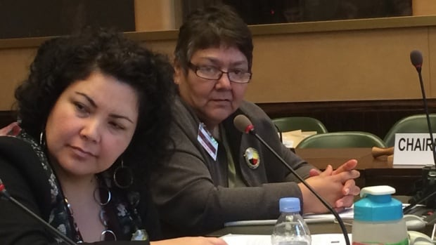 Linda Redsky (right) of Shoal Lake 40 First Nation is in Switzerland to address the United Nations committee on economic, social and cultural rights.
