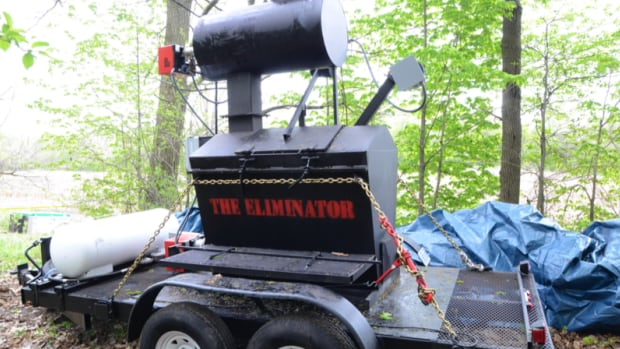 The incinerator found on a farm owned by Dellen Millard, one of two men accused in the slaying of Tim Bosma.