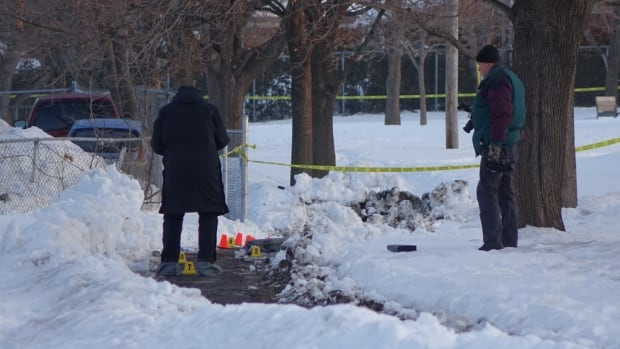 Investigators analyze the scene of a fatal stabbing in Lawson Park on Feb. 23, the day after it happened.