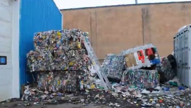 This screen capture is from a video taken by Alberta Environment and Parks officers at Alberta Reclaim and Recycling.