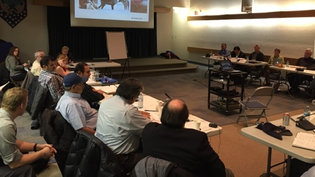 The latest management plan for the Bathurst caribou herd is discussed at a public hearing by the Wek'eezhii Renewable Resources Board in Yellowknife Tuesday.