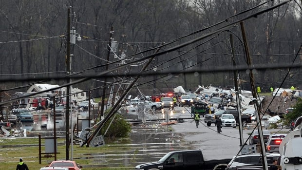 A suspected tornado ripped through a Louisiana recreational vehicle park near Convent on Tuesday, leaving a mangled mess of smashed trailers and killing at least one person, officials said.