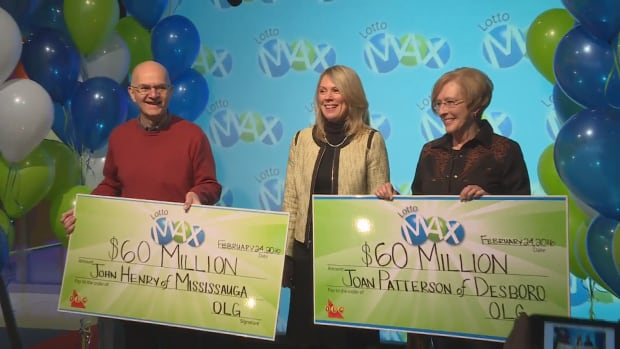 John Henry and Joan Patterson, both from Ontario, won $60 million each playing Lotto Max. They picked up their winnings Wednesday in Toronto.