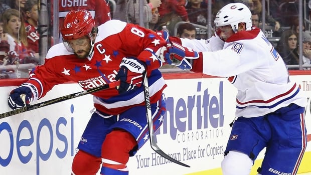 Alex Ovechkin, left, and the Capitals will face Andrei Markov, right, and the Canadiens on Wednesday night in Washington. With his next goal, Ovechkin will become the 10th NHL player with eight or more 40-goal seasons. The Caps lead the league with a 44-10-4 record, including a 17-1-1 mark in their last 19 games at home, while Montreal is 9-23-2 since a 19-4-3 start to the season.