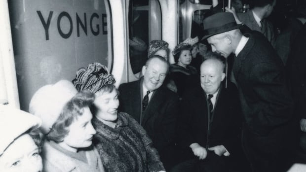 Prime Minister Lester B. Pearson rides the Bloor Danforth train on February, 25, 1966.