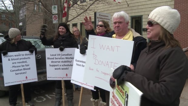 Striking Canadian Blood Services workers have been on the picket line since September.