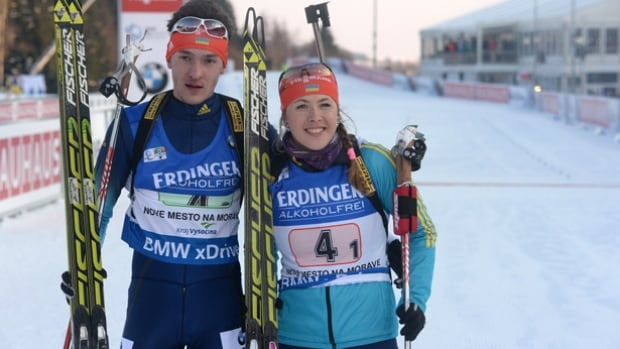 Ukrainian biathlete Artem Tyshchenko, left, who won a World Cup bronze medal in the single mixed relay with teammate Juliya Dzhyma a year ago, was suspended for a positive test for meldonium, a hormone and metabolic modulator.
